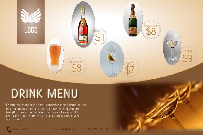 GOLD DRINK MENU LANDSCAPE FLYER TEMPLATE