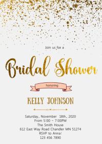 Gold foil bridal shower invitation