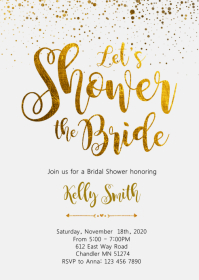 Gold foil bridal shower party invitation