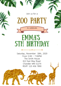 Gold foil Zoo birthday party invitation