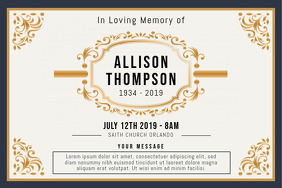 Gold Funeral Celebration of Life Invitation B