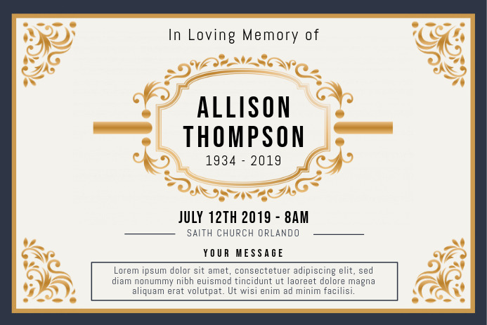 Gold Funeral Celebration of Life Invitation B Poster template