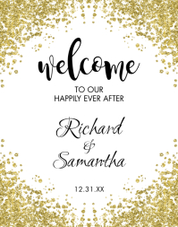 Gold Glitter Wedding Welcome Sign Póster/Tablero template