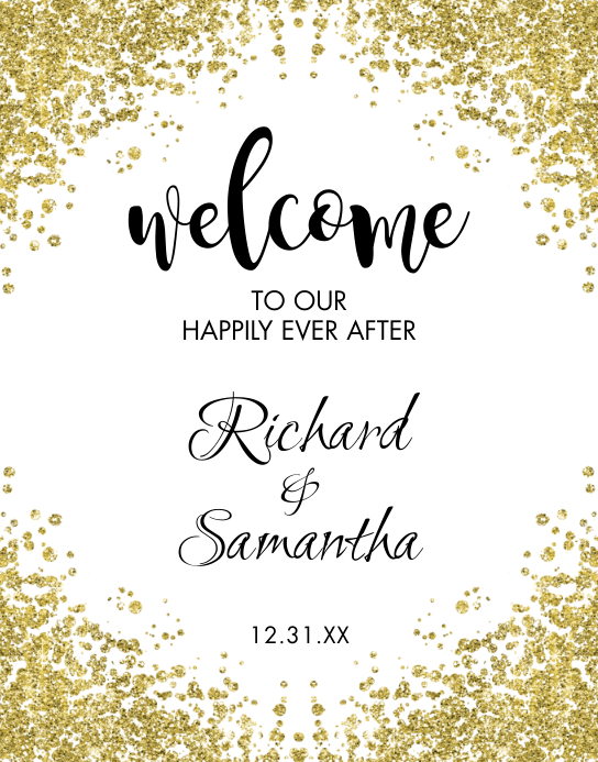 Gold Glitter Wedding Welcome Sign Poster/Wallboard template