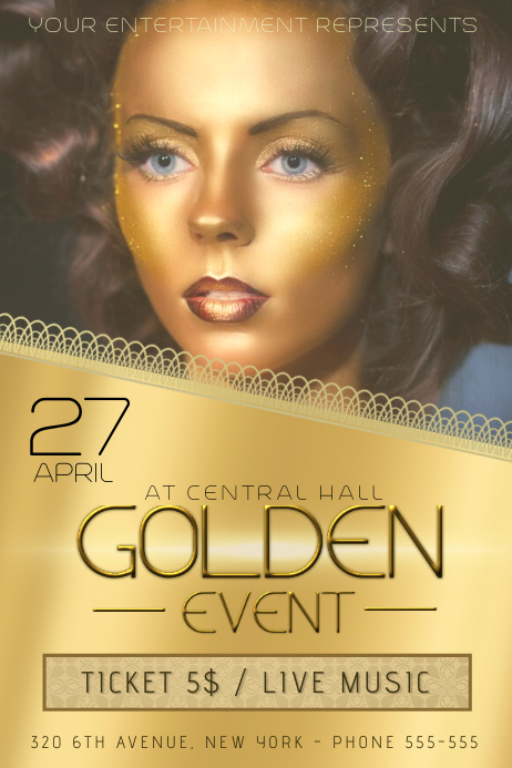 gold golden beauty event flyer template