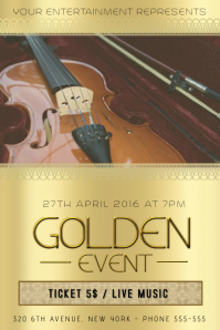 gold golden violin classical music event concert flyer template
