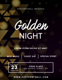 gold Golden Vip Gala Dinner flyer template