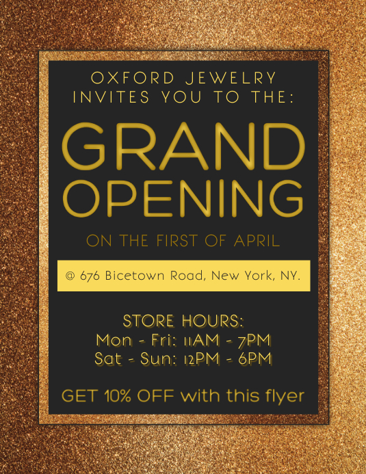 gold grand opening flyer template postermywall