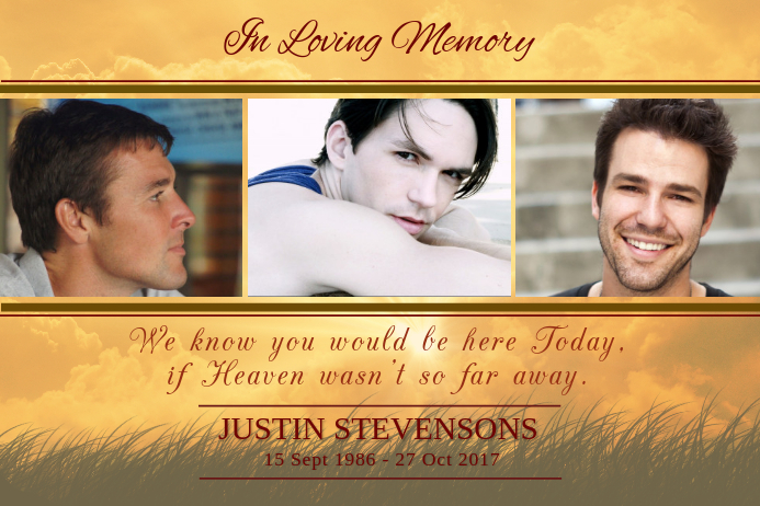 Gold In Loving Memory Poster Template Póster