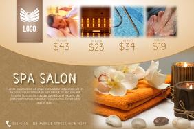 gold luxury relaxing landscape spa salon flyer template