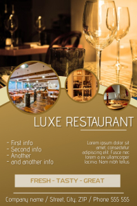 gold luxury restaurant flyer template