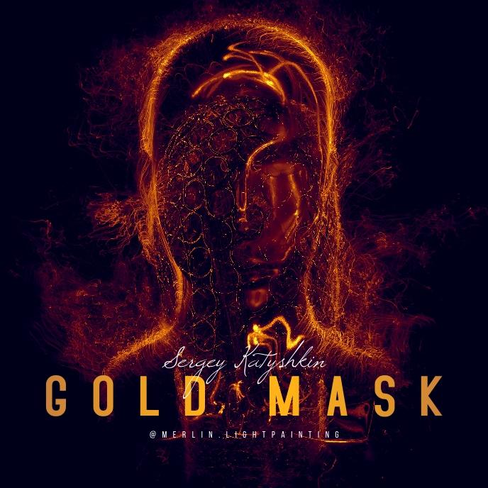 GOLD Mask Dark Surreal CD Cover Art Sampul Album template