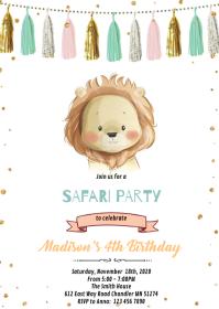 Gold mint lion theme birthday invitation A6 template