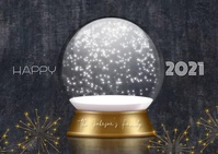 Gold New Year Snowglobe Family Video Kartu Pos template