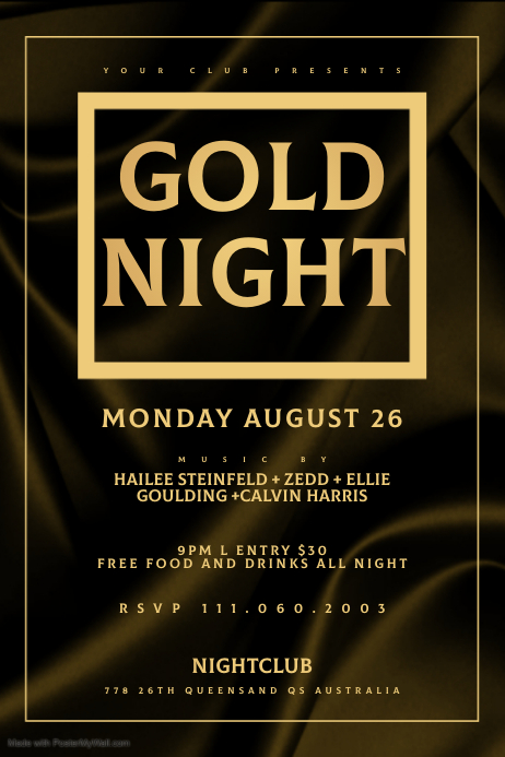 GOLD NIGHT Banner 4' × 6' template