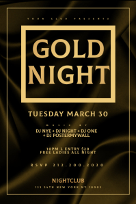 GOLD NIGHT Flyer Template แบนเนอร์ 4' × 6'