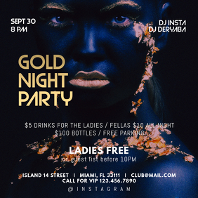 Gold Night Party Instagram Post Template