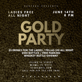 Gold Party Instagram Banner Template