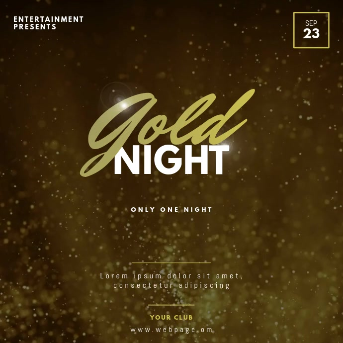Gold party video design template instagram