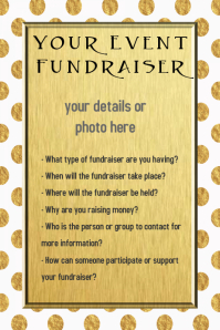 Gold Polka Dot Event Fundraiser Invitation Template Flyer