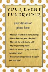 Gold Polka Dot Event Fundraiser Invitation Template Flyer  Fundraiser Invitation Templates