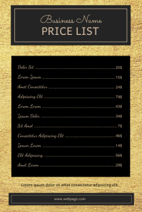 Gold Price List Menu Template