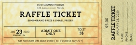 Gold Printable Raffle Ticket Design Template Banner 2' × 6'