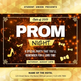 Gold Prom Night Invitation Square Video template