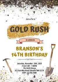 Gold Rush Birthday invitation A6 template