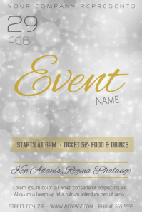 gold silver shiny white affair flyer template