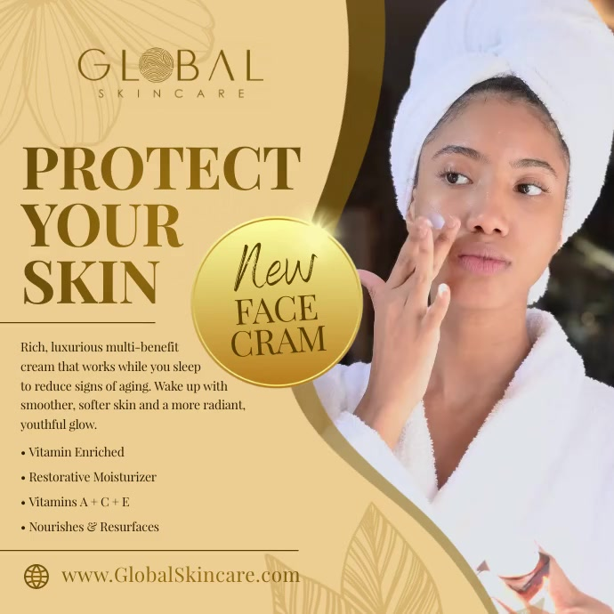 Gold Skincare Square Video template