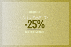 Gold sparkling jewelry sale landscape poster template