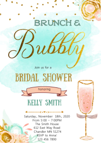 Gold teal Brunch and bubbly party invitation