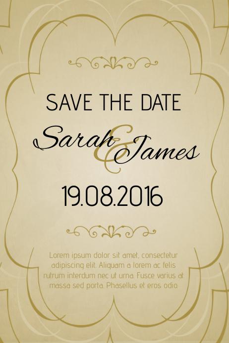 gold vintage anniversary invitation template