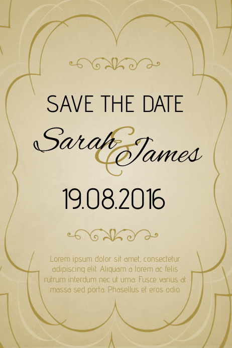 gold vintage anniversary invitation template