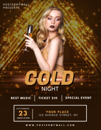 Gold Vip Gala NIght Flyer design template