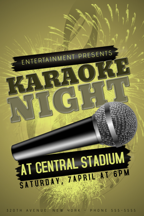 gold yellow karaoke nught event poster template