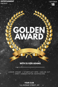 Golden award event party flyer template