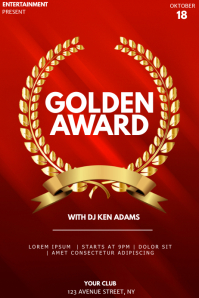 Golden award event party flyer template