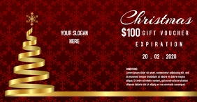 Golden Christmas Gift voucher template