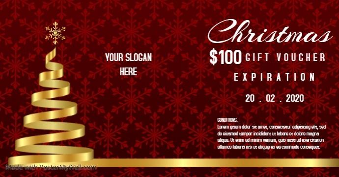 Golden Christmas Gift voucher template