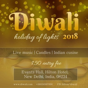 Golden Diwali Invitation Video Template Persegi (1:1)