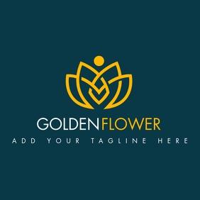 golden flower icon logo template