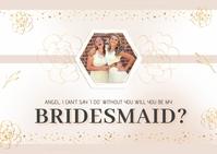 Golden Flowers Bridesmaid Postcard Template
