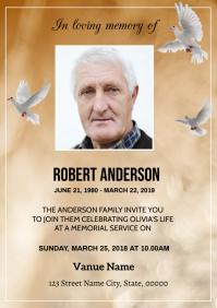 Golden Funeral Announcement Card A5 template