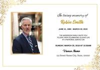 Golden Funeral Announcement Card A6 template