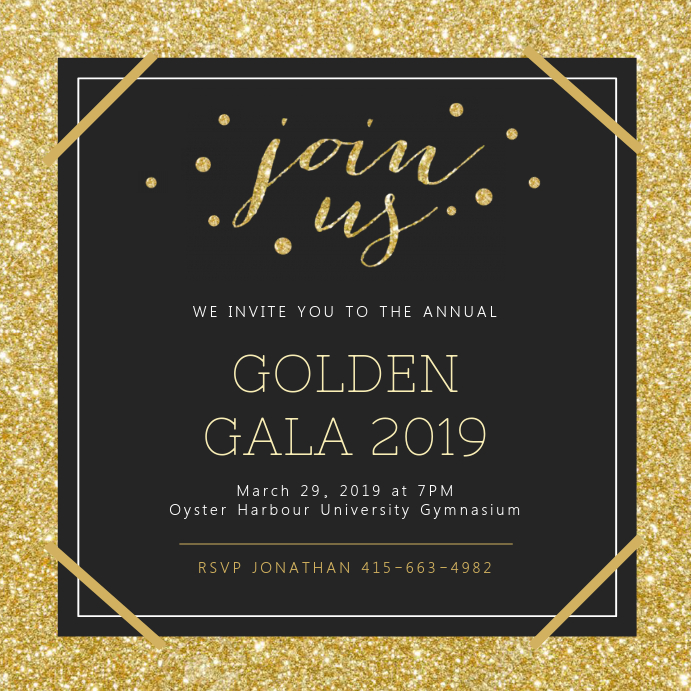 Golden Gala Party Invitation Template