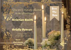 Golden Floral Themed Wedding Invitation Card Postcard template