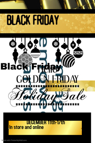 Golden Holiday Sale Poster Template