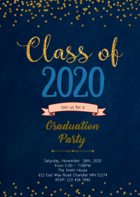 Golden navy graduation theme invitation A6 template
